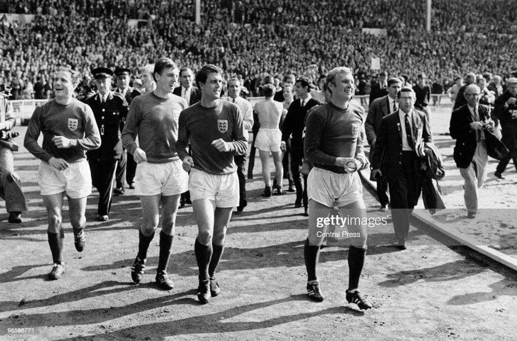 England captain Bobby Moore and his team with the Jules Rimet World Cup trophy after their World Cup Final victory at Wembley 30th July 1966