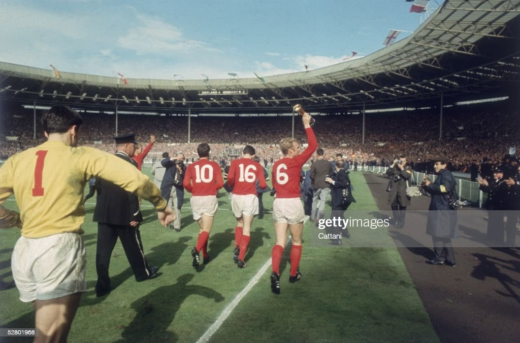 England captain Bobby Moore running a lap of honour around Wembley Stadium after England beat West Germany in the World Cup Final 4 - 2, 30th July 1966.