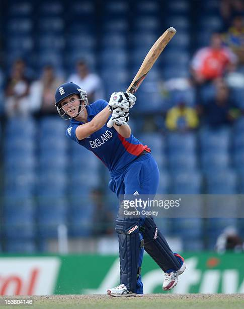 England captain Charlotte Edwards hits out for six runs during the ICC Women's World Twenty20 2012 Final between Australia and England at R Premadasa...