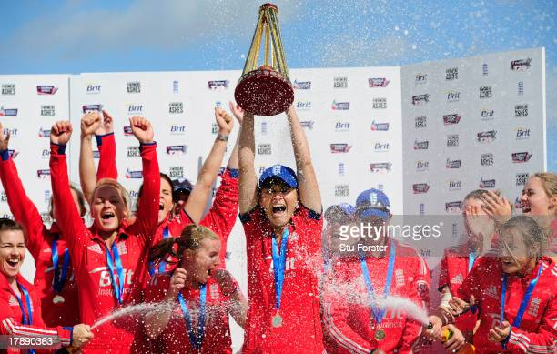 England captain Charlotte Edwards holds aloft the Ashes after the Women's Ashes Series 3rd NatWest T20 between England Women and Australia Women at...