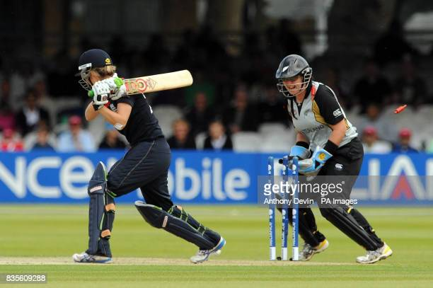 England captain Charlotte Edwards is bowled out by New Zealand's Sian Ruck during the Final of the Women's ICC World Twenty20 at Lords London
