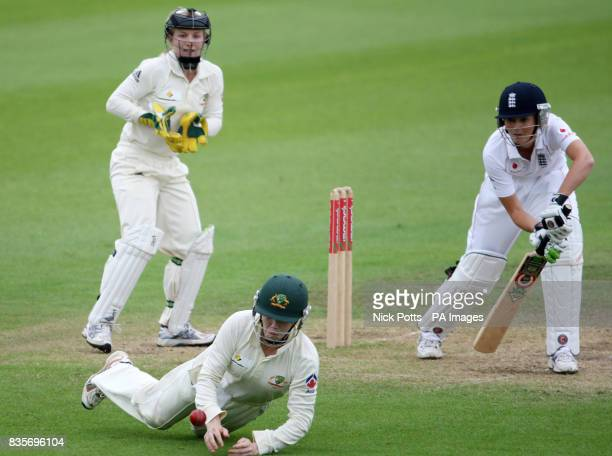England captain Charlotte Edwards is dropped by Australia's Alex Blackwell during day Five of the women's npower Test match at New Road Worcester