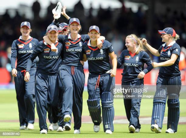 England captain Charlotte Edwards leads the team on a lap of honour after beating New Zealand in the Final of the Women's ICC World Twenty20 at Lords...