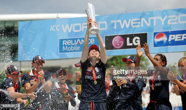 England captain Charlotte Edwards lifts the ICC World Twenty20 Trophy after the Final of the Womens ICC World Twenty20 at Lords London