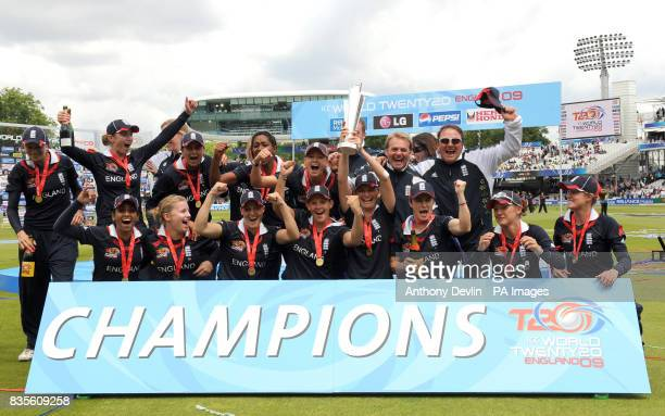 England captain Charlotte Edwards lifts the ICC World Twenty20 Trophy after during the Final of the Womens ICC World Twenty20 at Lords London