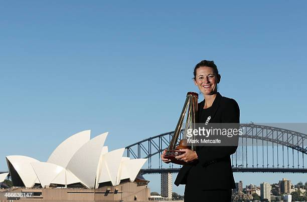England captain Charlotte Edwards poses with the Ashes trophy on February 3 2014 in Sydney Australia