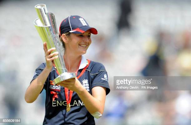 England captain Charlotte Edwards poses with the ICC World Twenty20 Trophy after the Final of the Womens ICC World Twenty20 at Lords London