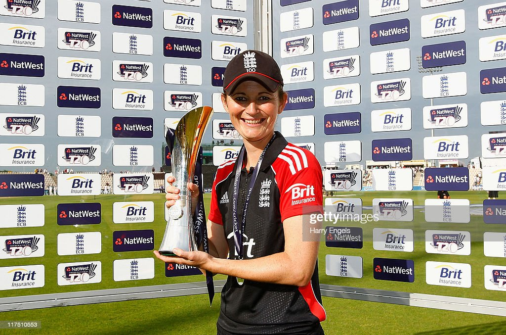England captain <a gi-track='captionPersonalityLinkClicked' href=/galleries/search?phrase=Charlotte+Edwards&family=editorial&specificpeople=618915 ng-click='$event.stopPropagation()'>Charlotte Edwards</a> poses with the trophy after winning the NatWest Women's Twenty20 Quadrangular Series match between England and Australia at The Rose Bowl on June 27, 2011 in Southampton, England.
