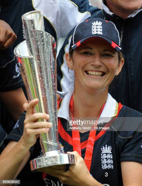 England captain Charlotte Edwards poses with the World Cup Trophy after beating New Zealand during the Final of the Womens ICC World Twenty20 at...