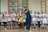 England captain Charlotte Edwards with children from Houghton Primary School during a media event to coincide with the launch of the book 'The Girls...