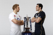 England Captain Chris Robshaw and Scotland Captain Kelly Brown pose with the Six Nations trophy during the RBS Six Nations launch at The Hurlingham...
