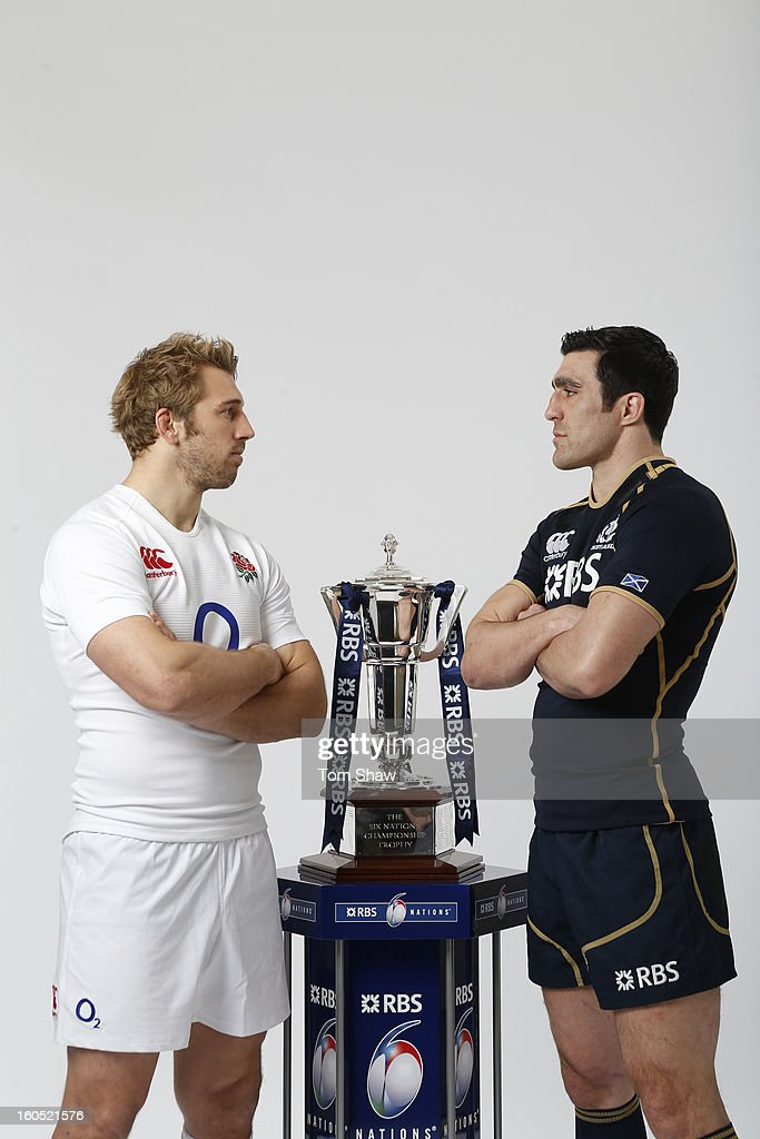 England Captain <a gi-track='captionPersonalityLinkClicked' href=/galleries/search?phrase=Chris+Robshaw&family=editorial&specificpeople=2375303 ng-click='$event.stopPropagation()'>Chris Robshaw</a> (L) and Scotland Captain <a gi-track='captionPersonalityLinkClicked' href=/galleries/search?phrase=Kelly+Brown&family=editorial&specificpeople=211000 ng-click='$event.stopPropagation()'>Kelly Brown</a> pose with the Six Nations trophy during the RBS Six Nations launch at The Hurlingham Club on January 23, 2013 in London, England.