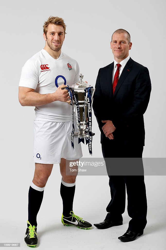 England captain Chris Robshaw and Stuart Lancaster the England head coach pose with the Six Nations trophy during the RBS Six Nations launch at The Hurlingham Club on January 23, 2013 in London, England.