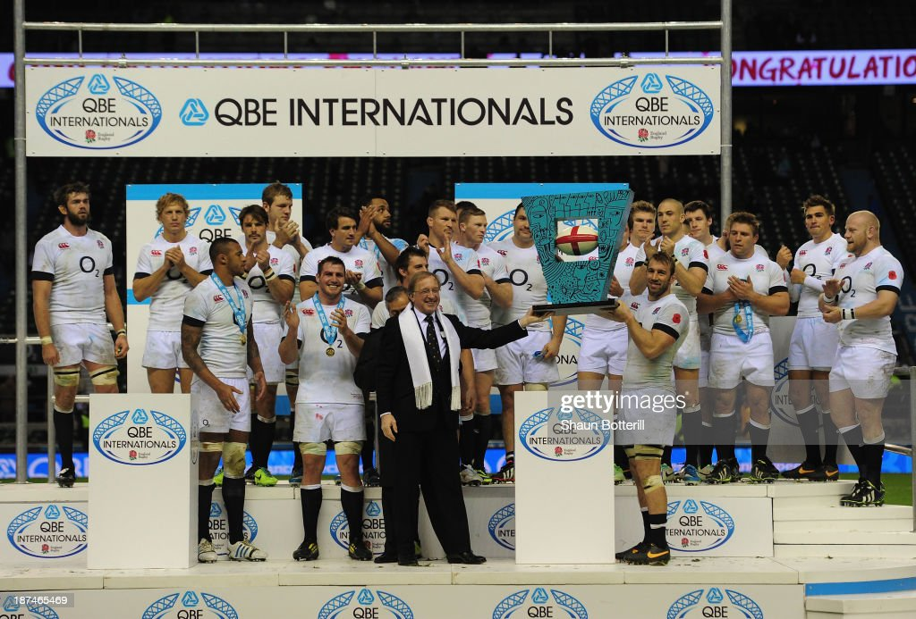 England captain <a gi-track='captionPersonalityLinkClicked' href=/galleries/search?phrase=Chris+Robshaw&family=editorial&specificpeople=2375303 ng-click='$event.stopPropagation()'>Chris Robshaw</a> lifts the match trophy after the QBE International match between England and Argentina at Twickenham Stadium on November 9, 2013 in London, England.