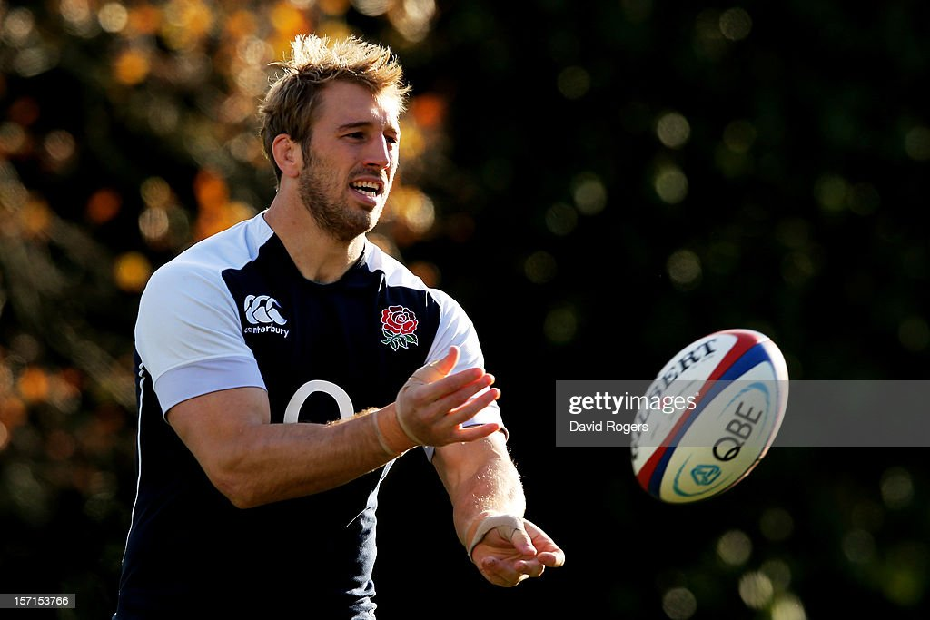 England captain Chris Robshaw passes the ball during the England training session at Pennyhill Park on November 29, 2012 in Bagshot, England.