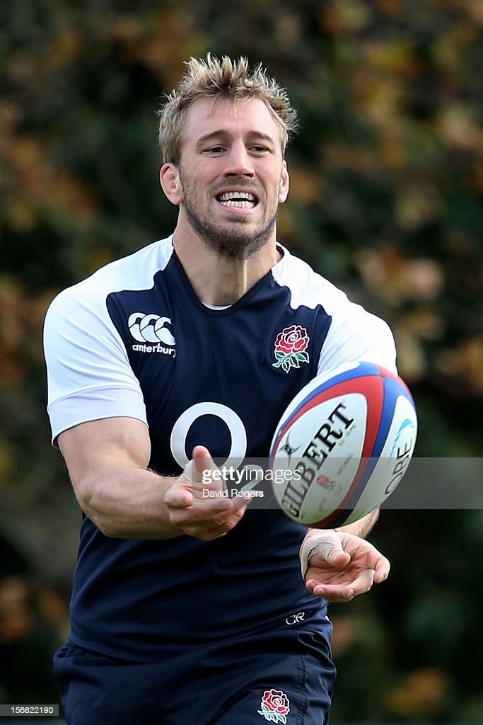 England captain <a gi-track='captionPersonalityLinkClicked' href=/galleries/search?phrase=Chris+Robshaw&family=editorial&specificpeople=2375303 ng-click='$event.stopPropagation()'>Chris Robshaw</a> runs through drills during the England training session at Pennyhill Park on November 22, 2012 in Bagshot, England.