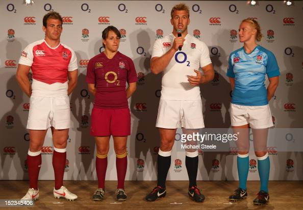 England captain Chris Robshaw speaks during the official launch of the new England rugby union kit alongside fellow captains Katy McLean Rob...
