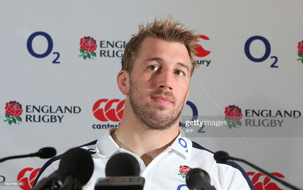 England captain Chris Robshaw speaks to the media during a press conference in Cardiff on March 15, 2013 on the eve of their final Six Nations international rugby union match against Wales.