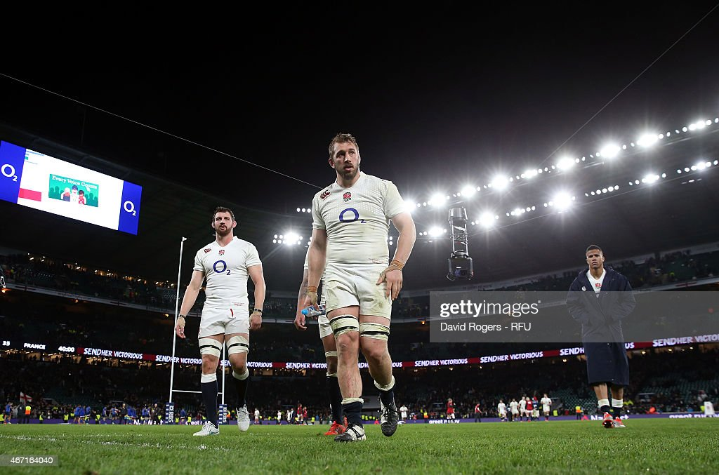 England captain Chris Robshaw walks off the pitch looking dejected at the end of the RBS Six Nations match between England and France at Twickenham...