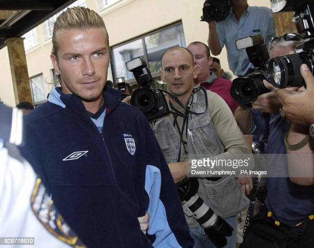 England Captain David Beckham arrives for a press conference at the Holiday Inn in Skopje Macedonia prior to their European Championship qualifier on...