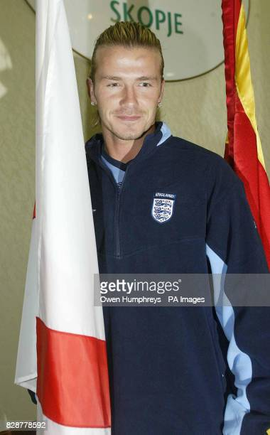 England Captain David Beckham attends a press conference at the Holiday Inn in Skopje Macedonia prior to their European Championship qualifier on...