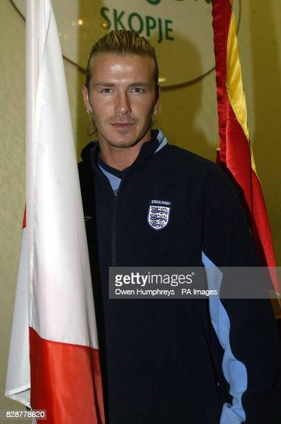 England Captain David Beckham attends a press conference at the Holiday Inn in Skopje Macedonia prior to their European Championship qualifier *...