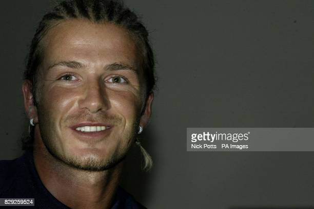 England captain David Beckham during press confrence at Kingfisher confrence centre in Durban prior to Thursday's game against South Africa *15/11/03...