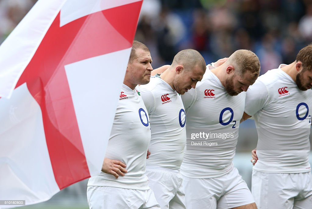 England captain <a gi-track='captionPersonalityLinkClicked' href=/galleries/search?phrase=Dylan+Hartley&family=editorial&specificpeople=764177 ng-click='$event.stopPropagation()'>Dylan Hartley</a> and his players line up for the national anthems prior to kickoff during the RBS Six Nations match between Italy and England at the Stadio Olimpico on February 14, 2016 in Rome, Italy.