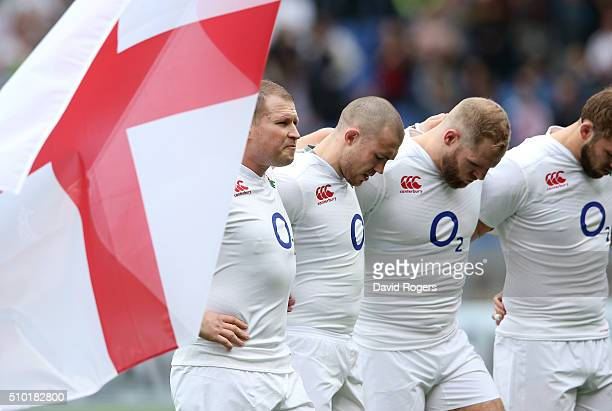 England captain Dylan Hartley and his players line up for the national anthems prior to kickoff during the RBS Six Nations match between Italy and...