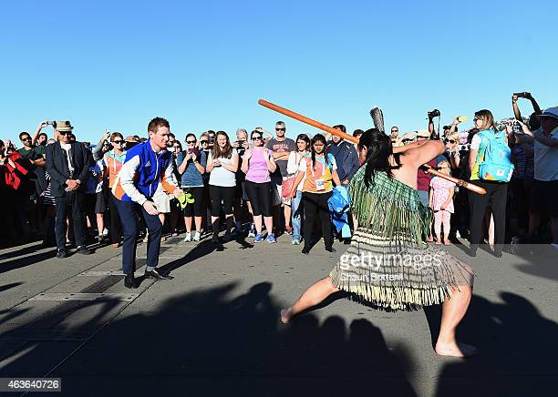 England captain Eoin Morgan accepts the Wero during an official Maori welcome on February 17 2015 in Wellington New Zealand