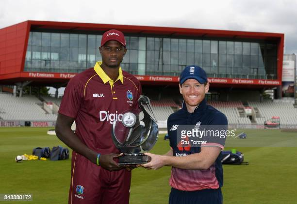 England captain Eoin Morgan and West Indies captain Jason Holder pictured with the Royal London Trophy ahead of the 1st ODI against West Indies at...