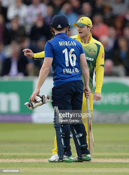 England captain Eoin Morgan argues with Australian captain Steven Smith after Ben Stokes of England is given out for disrupting the field during the...