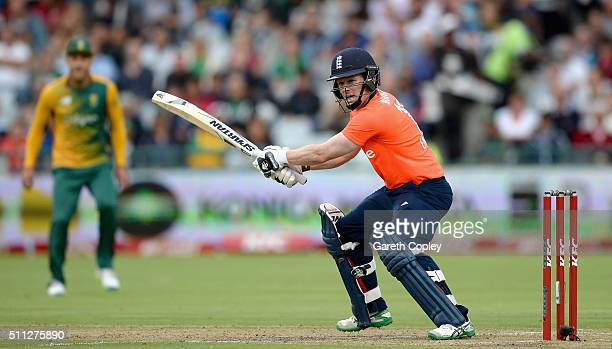 England captain Eoin Morgan bats during the 1st KFC T20 International match between South Africa and England at Newlands on February 19 2016 in Cape...
