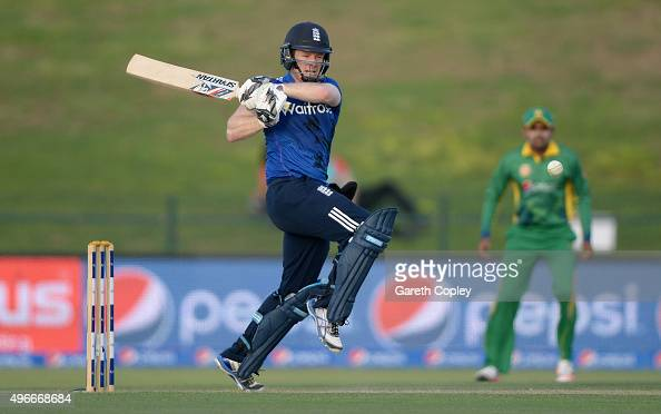 England captain Eoin Morgan bats during the 1st One Day International between Pakistan and England at Zayed Cricket Stadium on November 11 2015 in...