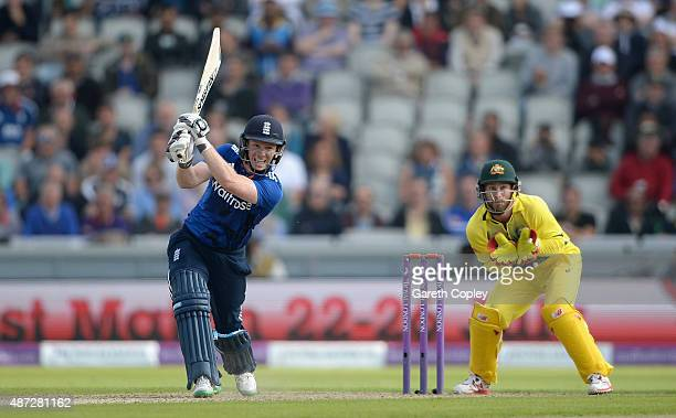 England captain Eoin Morgan bats during the 3rd Royal London OneDay International match between England and Australia at Old Trafford on September 8...