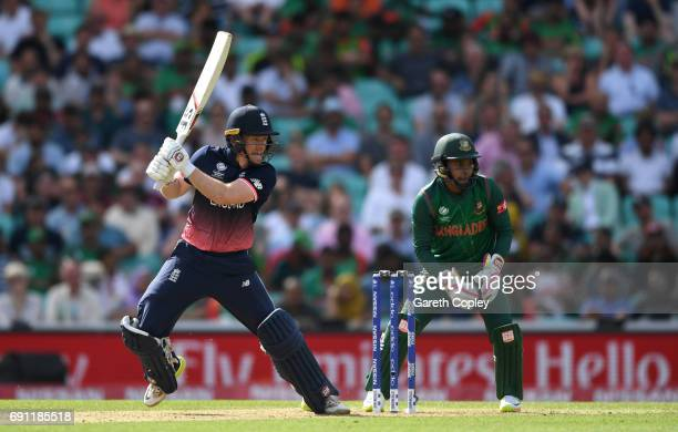 England captain Eoin Morgan bats during the ICC Champions Trophy group match between England and Bangladesh at The Kia Oval on June 1 2017 in London...