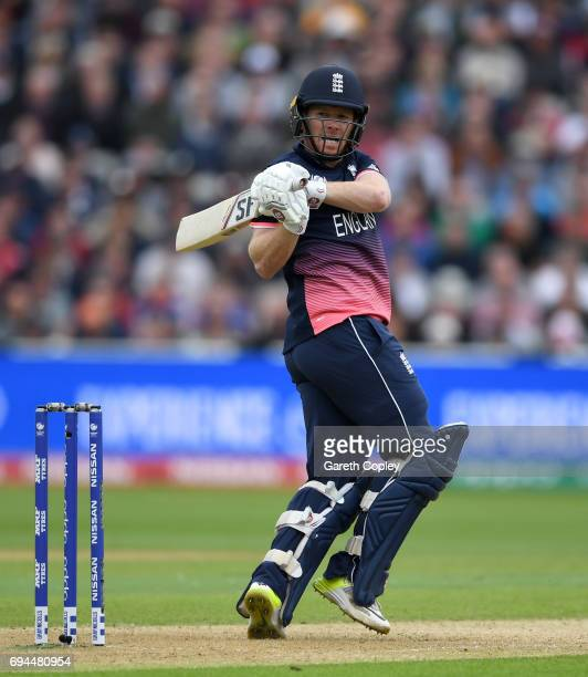 England captain Eoin Morgan bats during the ICC Champions Trophy match between England and Australia at Edgbaston on June 10 2017 in Birmingham...