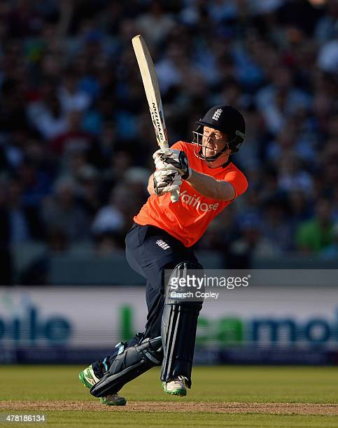 England captain Eoin Morgan bats during the NatWest International Twenty20 match between England and New Zealand at Old Trafford on June 23 2015 in...