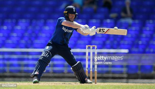 England captain Eoin Morgan bats during the tour match between WICB President's XI and England at Warner Park on February 25 2017 in Basseterre St...