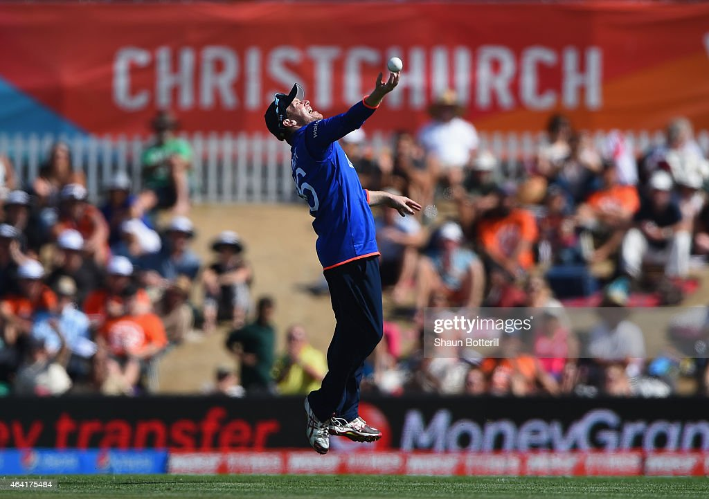 England captain Eoin Morgan celebrates after taking a catch during the 2015 ICC Cricket World Cup match between England and Scotland at Hagley Oval...