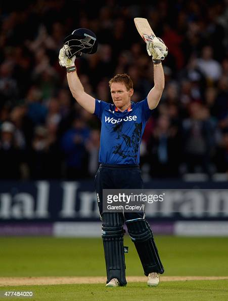 England captain Eoin Morgan celebrates reaching his century during the 4th ODI Royal London OneDay match between England and New Zealand at Trent...