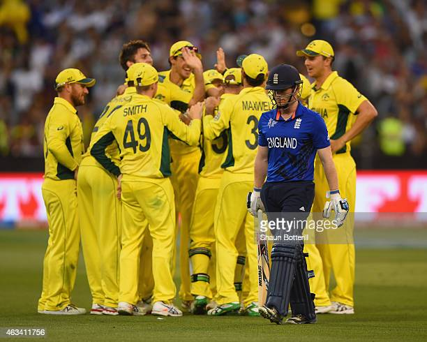 England captain Eoin Morgan heads back to the dressing room after losing his wicket to Mitchell Marsh of Australia during the 2015 ICC Cricket World...