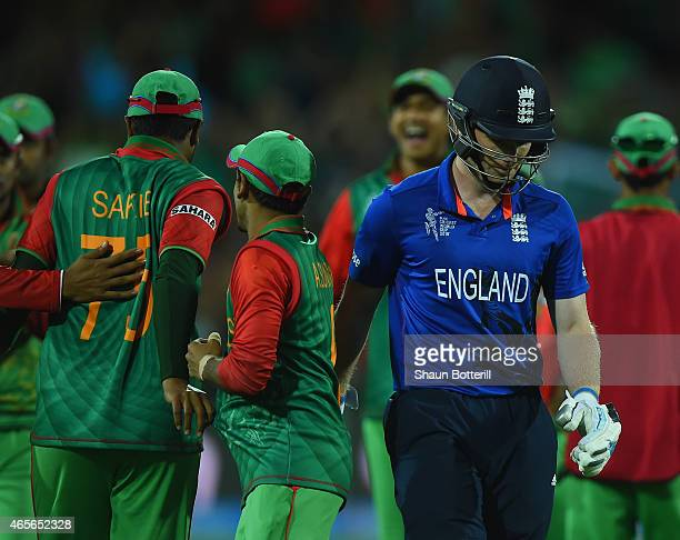 England captain Eoin Morgan heads back to the dressing room for 0 during the 2015 ICC Cricket World Cup match between England and Bangladesh at...