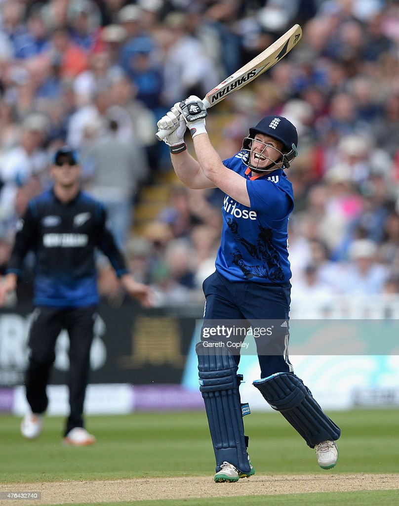 England captain Eoin Morgan hits out for six runs during the 1st ODI Royal London OneDay match between England and New Zealand at Edgbaston on June 9...