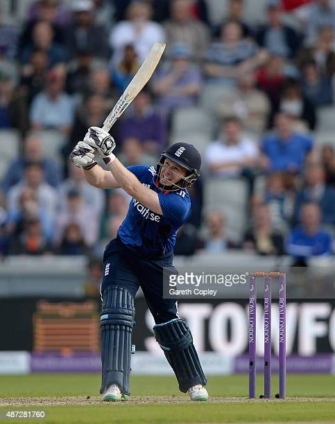 England captain Eoin Morgan hits out for six runs during the 3rd Royal London OneDay International match between England and Australia at Old...