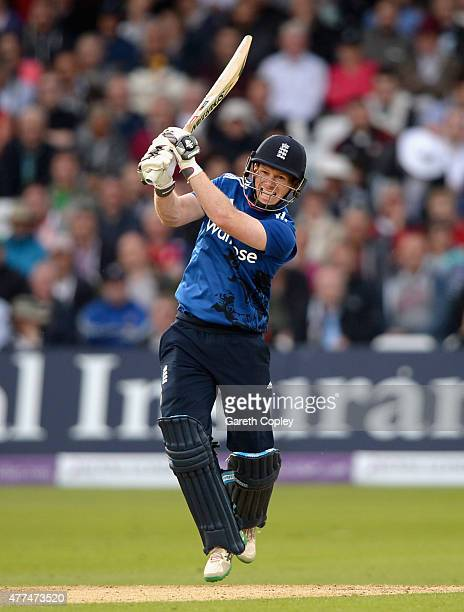 England captain Eoin Morgan hits out for six runs during the 4th ODI Royal London OneDay match between England and New Zealand at Trent Bridge on...