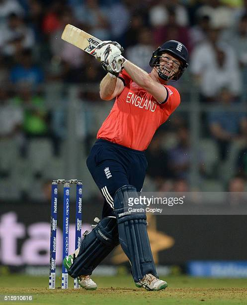 England captain Eoin Morgan hits out for six runs during the ICC World Twenty20 India 2016 Super 10s Group 1 match between West Indies and England at...