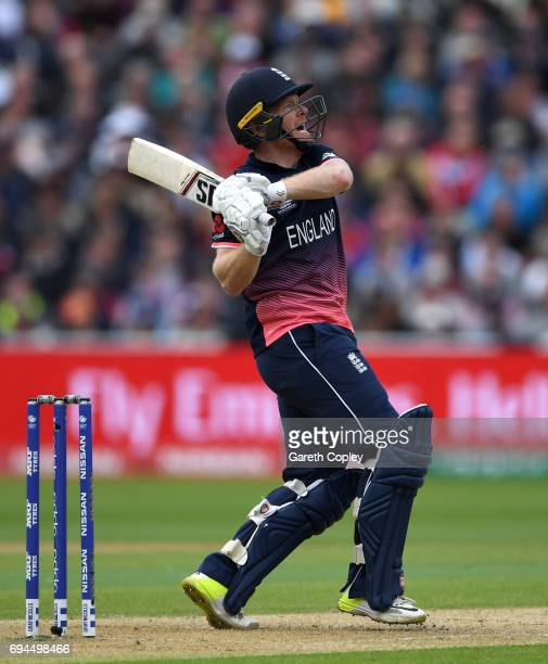 England captain Eoin Morgan hits out for six runs during the ICC Champions Trophy match between England and Australia at Edgbaston on June 10 2017 in...