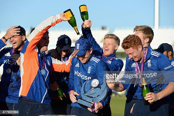 England captain Eoin Morgan is sprayed with champiagn after winning the 5th ODI Royal London OneDay match between England and New Zealand at Emirates...