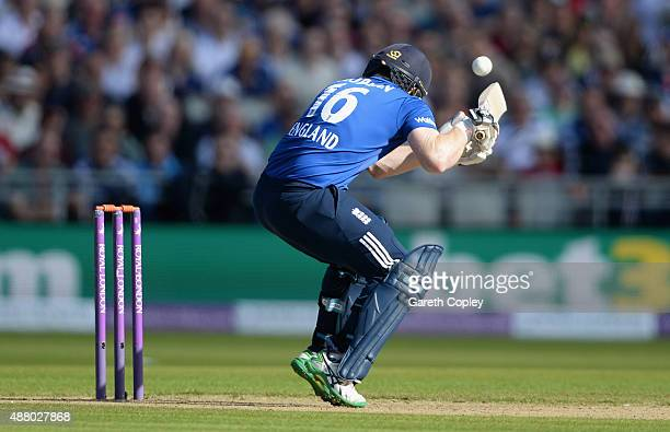 England captain Eoin Morgan is stuck on the helmet by a ball from Mitchell Starc of Australia during the 5th Royal London OneDay International match...